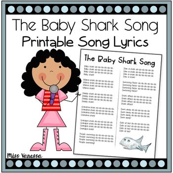 The Baby Shark Song ~ Printable Lyrics for Music, Movement