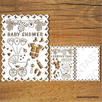 Baby Shower Boy card SVG files for Silhouette Cameo and Cricut.