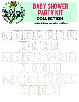 Baby Shower Clip Art Collection for Teachers: 28 color and 14 bl/w images