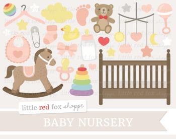 Baby Shower Clipart; New Baby, Nursery, Bottle, Crib, Rocking Horse, Girl