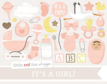 Baby Shower Clipart; New Baby, Nursery, Bottle, Stroller, Stork, Onesie, Girl