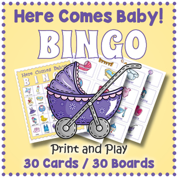 Baby Shower Game - Here Comes Baby BINGO