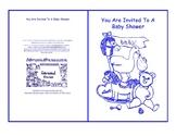 Baby Shower Invite Nursery Toys Baby Room Blue Line Art Card Printable