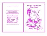 Baby Shower Invite Nursery Toys Baby Room Pink Line Art Card Printable