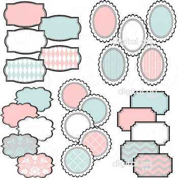 Baby Shower Labels and Frames Clipart by Poppydreamz