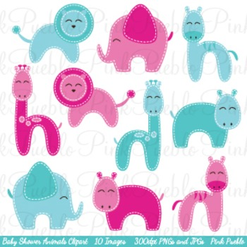 Baby Shower Zoo Animals Clip Art - Commercial and Personal Use