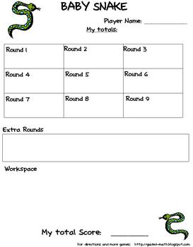 Baby Snake - Math Center Dice Game for Addition or Multiplication