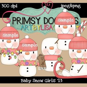 Baby Snowmen-Girls 300 dpi Clipart