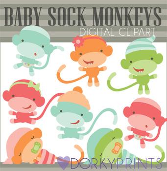 Baby Sock Monkey Clip Art