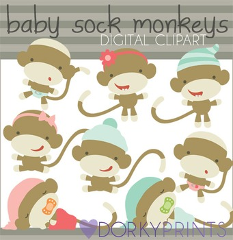 Baby Sock Monkeys Digital Clip Art Set