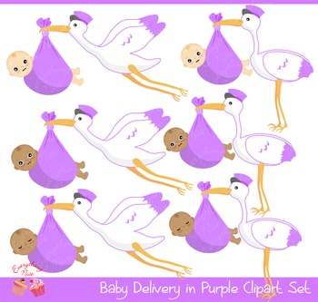 Baby Stork Delivery in Purple Clipart Set