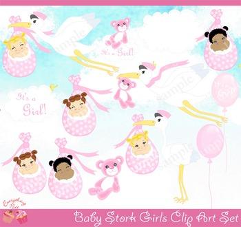 Baby Stork Girls Clipart Set