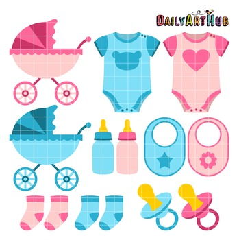 Baby Things Clip Art - Great for Art Class Projects!