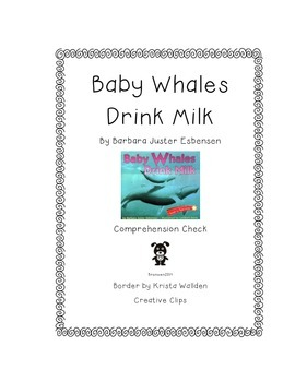 Baby Whales Drink Milk Comprehension Check