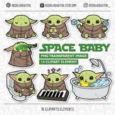 green alien, space baby clipart