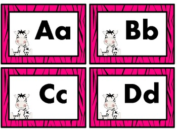 Baby Zebra Word Wall Headers In four Border Colors