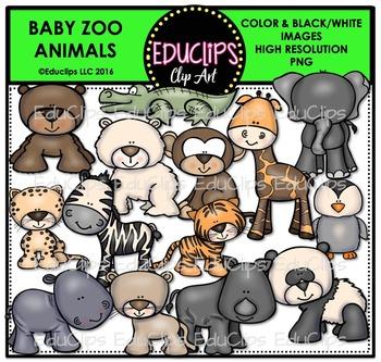 Baby Zoo Animals Clip Art Bundle