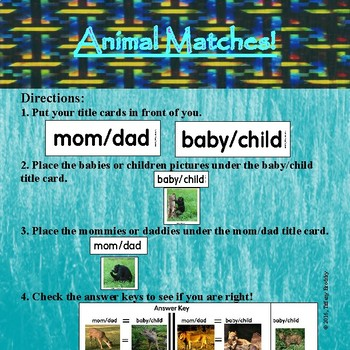 Baby and Parent Animal Match Game