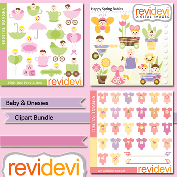 Baby and onesies clip art bundle / baby shower, nursery decor / clipart