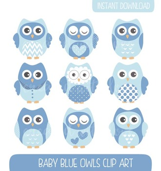 Baby Blue Owls Clip Art