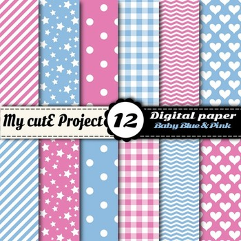 """Baby blue and pink - DIGITAL PAPER - Scrapbooking - A4 & 12x12""""- stripes ..."""