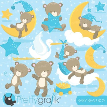 Baby boy bear clipart commercial use, vector, digital - CL772