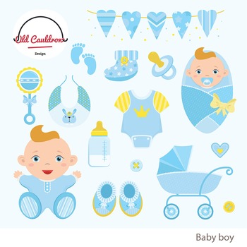 Baby boy clipart, baby clipart, vector graphics CL011