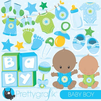 Baby boy clipart commercial use, vector graphics, digital - CL835