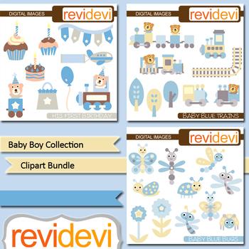 Baby boy collection clip art bundle / birthday, teddy bear, bugs / blue