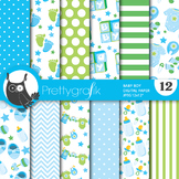 Baby boy digital paper, commercial use, scrapbook papers, baby shower - PS710