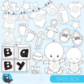 Baby boy stamps commercial use, vector graphics, images - DS829
