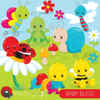 Baby bug clipart commercial use, vector graphics, digital - CL839