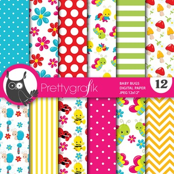 Baby bugs digital paper, commercial use, scrapbook papers - PS713
