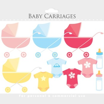 Baby clipart, baby carriage clip art, baby shower, prams, pink, blue, clothes