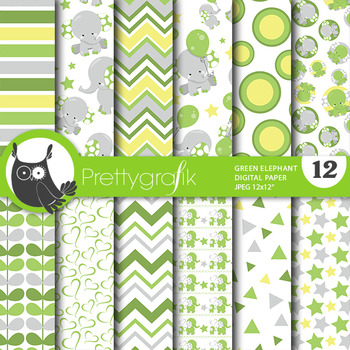 Baby elephant papers, commercial use, scrapbook papers - PS806