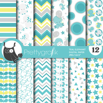 Baby elephant papers, commercial use, scrapbook papers - PS808