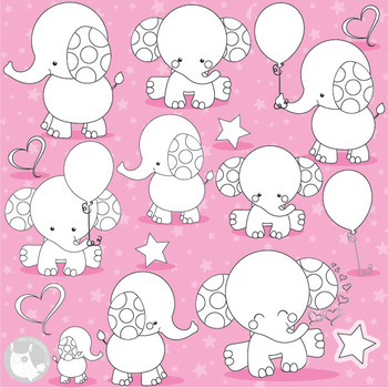 Baby elephant stamps commercial use, vector graphics, images  - DS975