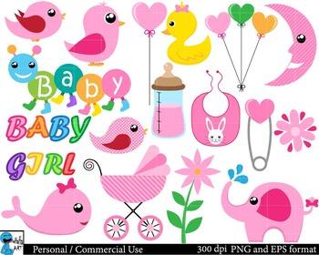 Baby girl Set Clipart - Digital Clip Art Graphics 73 images cod62