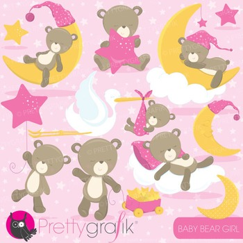 Baby girl bear clipart commercial use, vector, digital - CL773