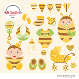 Baby girl bee clipart commercial use, baby clipart, vector