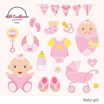 Baby girl clipart commercial use, baby clipart, vector graphics CL012