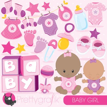 Baby girl clipart commercial use, vector graphics, digital - CL834