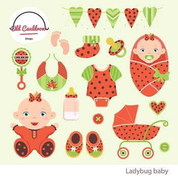 Baby girl ladybug clipart commercial use, baby clipart, vector graphics CL014