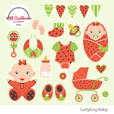 Baby girl ladybug clipart commercial use, baby clipart, ve