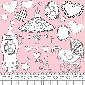 Baby girl stamps, black line, commercial use, vector graphics, images  - DS321