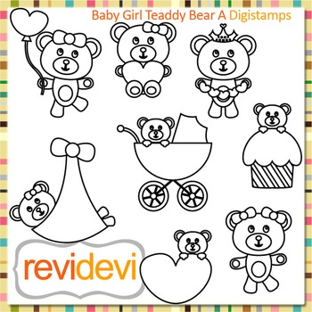 Baby girl teddy bear (digital stamps, coloring graphic) S057