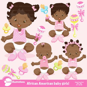 Baby Girl Clipart, African American Clipart, Baby Girl Clip Art, AMB-835