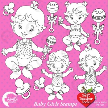 Baby Clipart, Digital Stamps, Baby Girls Outlines, Black l