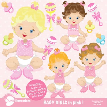 Baby Girl clipart, Nursery Clipart, AMB-830