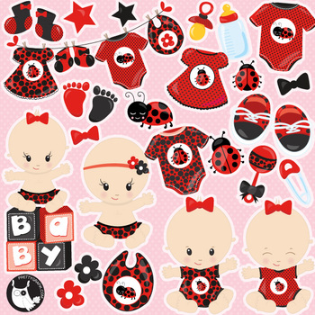 Baby ladybug sale clipart commercial use, vector graphics, digital  - CL1121